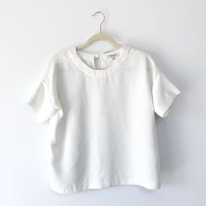 Madewell White Short Sleeve Blouse Ties In Back